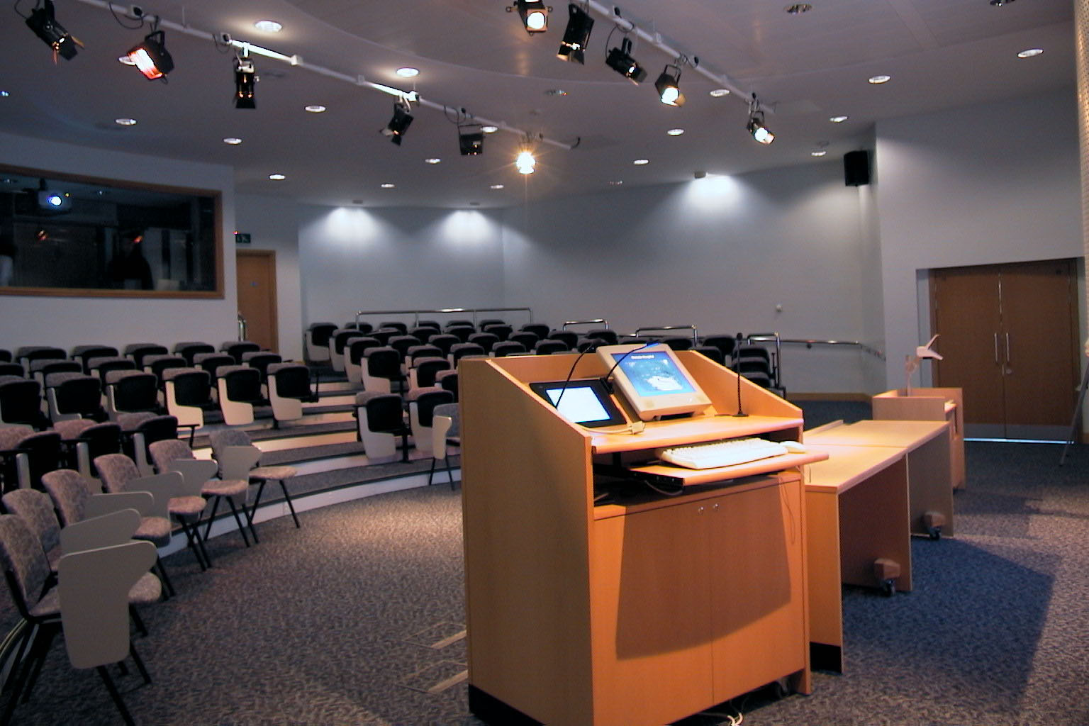 Christie Hospital conference facilities with lectern housing stage lighting and audio visual control